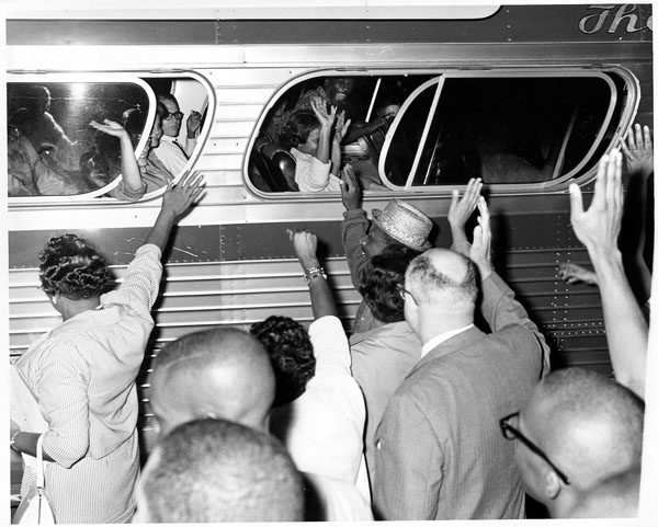 Bus departing for March on Washington for Freedom and Jobs, Hartford (Conn.), 1963 Aug. 28. Copyright restrictions apply to use of this image.